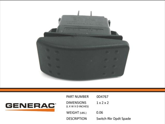 Generac Guardian 0D4767 On Off Rocker Switch DPDT Spade
