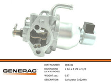 Load image into Gallery viewer, Generac Generator GN220 RV  Carburetor Part 0D8332