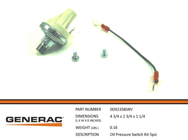 Generac Guardian 0D9235BSRV Oil Pressure Switch Kit 5PSI New