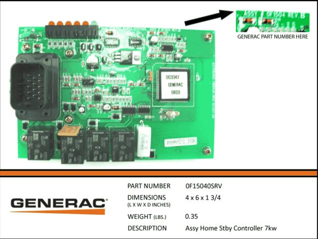 Generac 0F15040SRV HOME STBY CONTROLLER 7KW..Discontinued No Longer Available