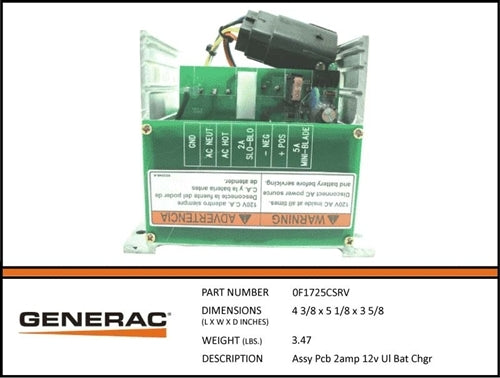Generac 0F1725CSRV Battery Charger Assembly PCB 2AMP 12V UL