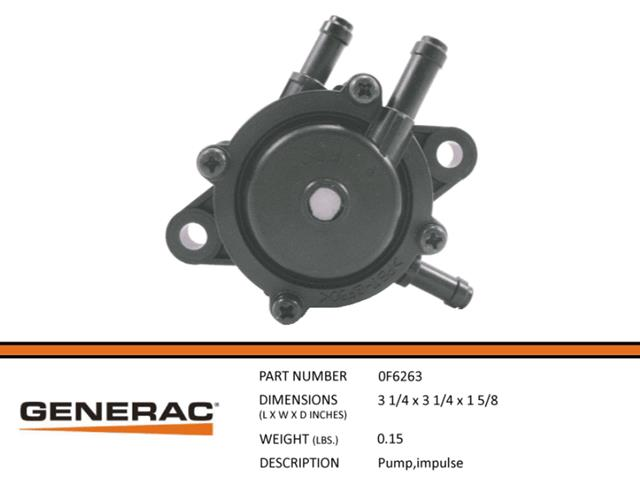 Generac Guardian 0F6263 PUMP,IMPULSE