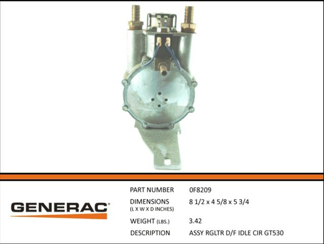 GENERAC ASSEMBLY FUEL REGULATR D/F IDLE CIR GT530 0F8209