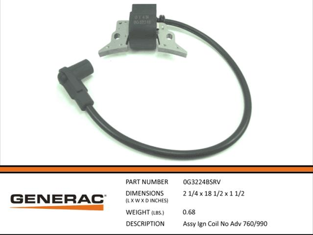 Generac Guardian ASSEMBLY IGNITION COIL NO ADV 760/990 0G3224BSRV