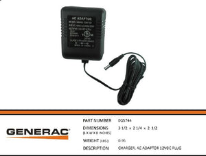 Generac Guardian CHARGER, AC ADAPTER 12VDC PLUG 0G5744