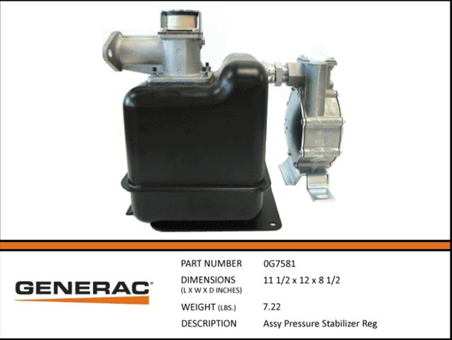 Generac ASSEMBLY PRESSURE STABILIZER REG  0G7581