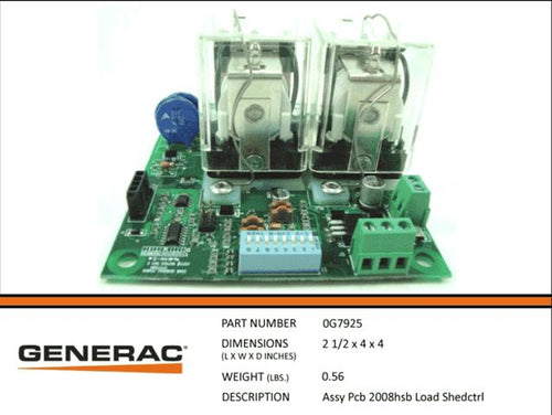Generac Guardian ASSEMBLY PCB 2008HSB LOAD SHEDCTRL  0G7925