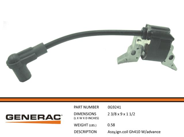Generac  ASSEMBLY IGNITION COIL GH410 W/ADVANCE 0G9241- No Longer Available Order (0G9241T)