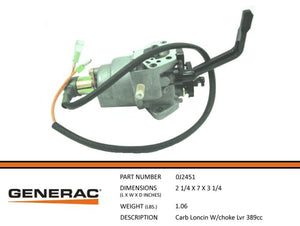 Generac CARB LONCIN W/CHOKE LVR 389CC Part# 0J2451 ( Replaces 0G9915 )