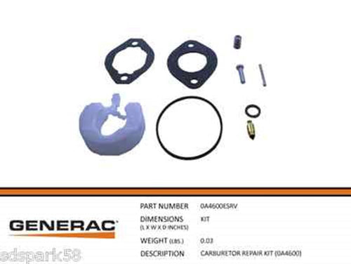 Generac Guardian Carburetor Repair Kit  (0A4600) 0A4600ESRV