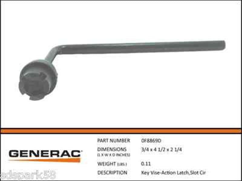 Generac Guardian Slotted  Circle Vice Action latch Key 0F8869D