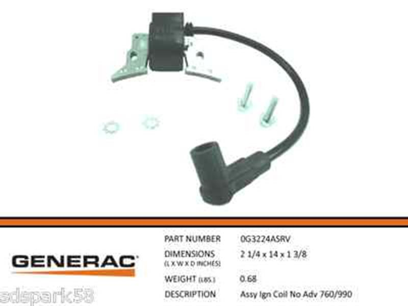 Generac Guardian Assembly Ignition Coil No Advance 760/990 0G3224ASRV