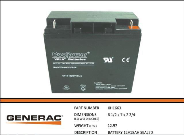Generac 0H1663 BATTERY 12V 18AH SEALED NEW Replaces CP1218