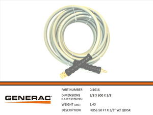 "Generac HOSE-50FT X 3/8"" W/QDISK Part# 0J1016"