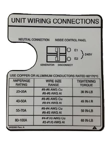 Generac 0K2066 DECAL, WIRING CONNECTIONS