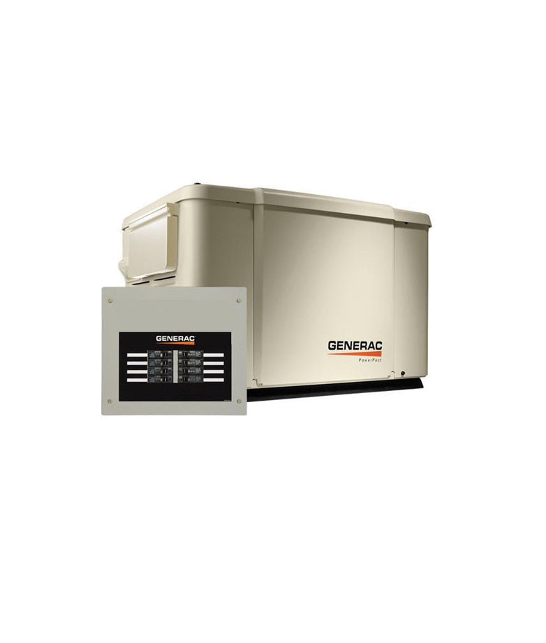 Generac 7.5/6KW Air Cooled Standby Generator Steel Enclosure & 8 Circuit LC Model
