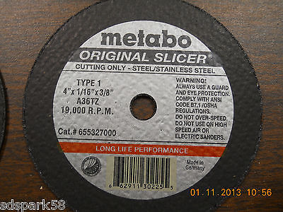 Metabo 655327000 4 x 1/16 x 3/8 A 36 TZ, For Steel /Stainless Steel