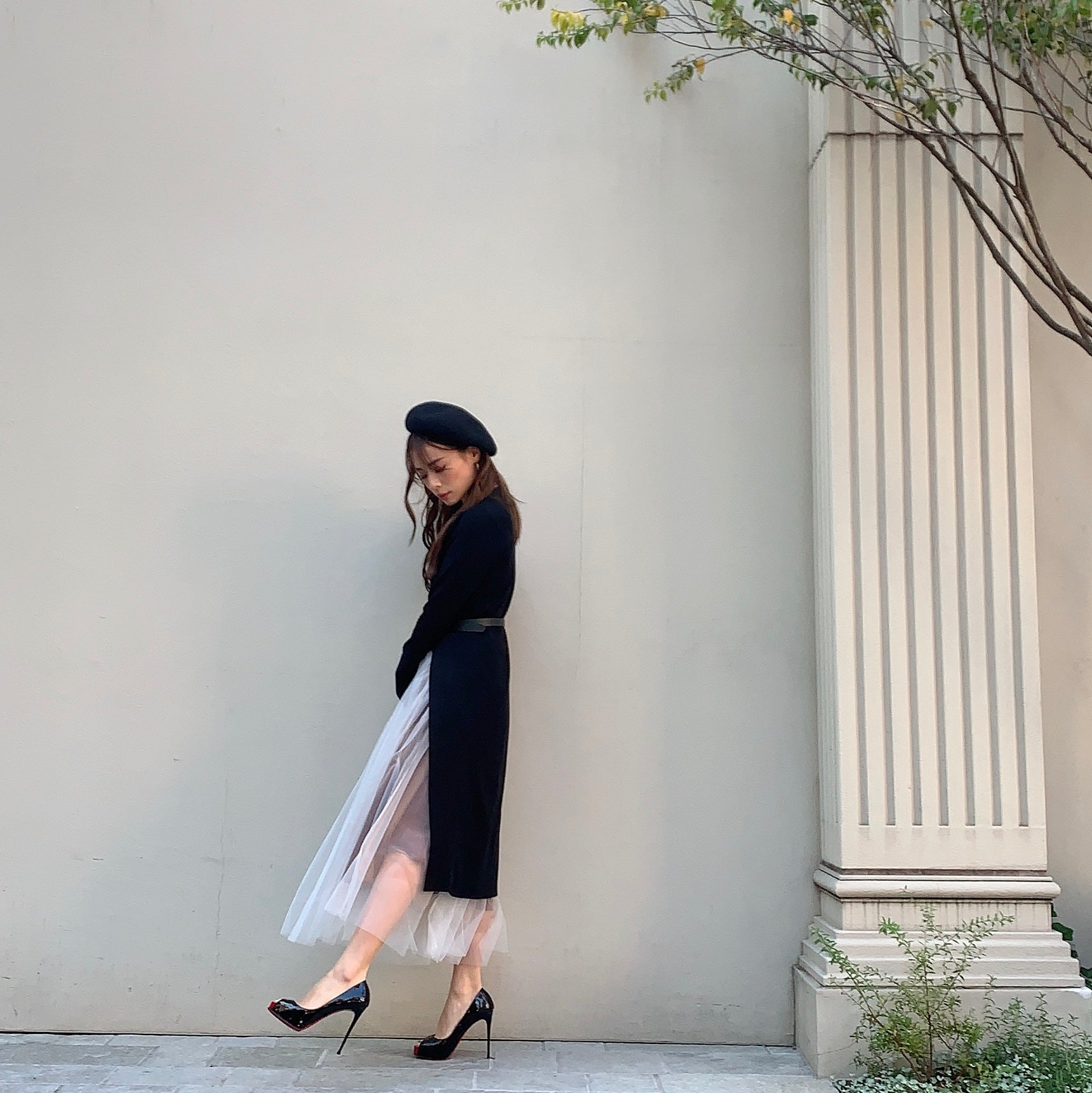 JM003 slit black knit × white mesh skirt - Just me(ジャスト・ミー)