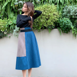 JM004 black tops × color block skirt - Just me(ジャスト・ミー)