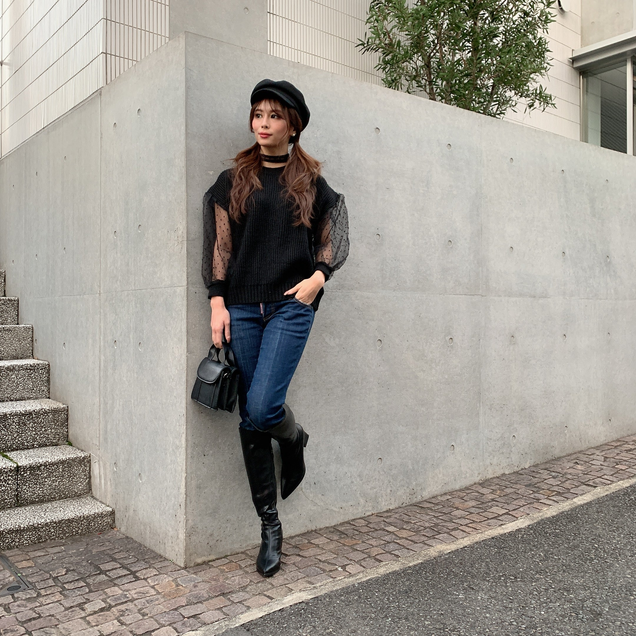 JM030 puff sleeve see-through dot knit - Just me(ジャスト・ミー)