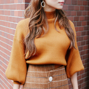 JM013 puff sleeve knit × checkered skirt - Just me(ジャスト・ミー)