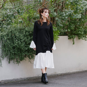 JM021 unbalance shirts pleated one-piece - Just me(ジャスト・ミー)