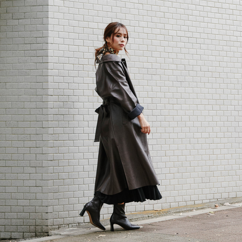 JM008 side slit  leather coat - Just me(ジャスト・ミー)