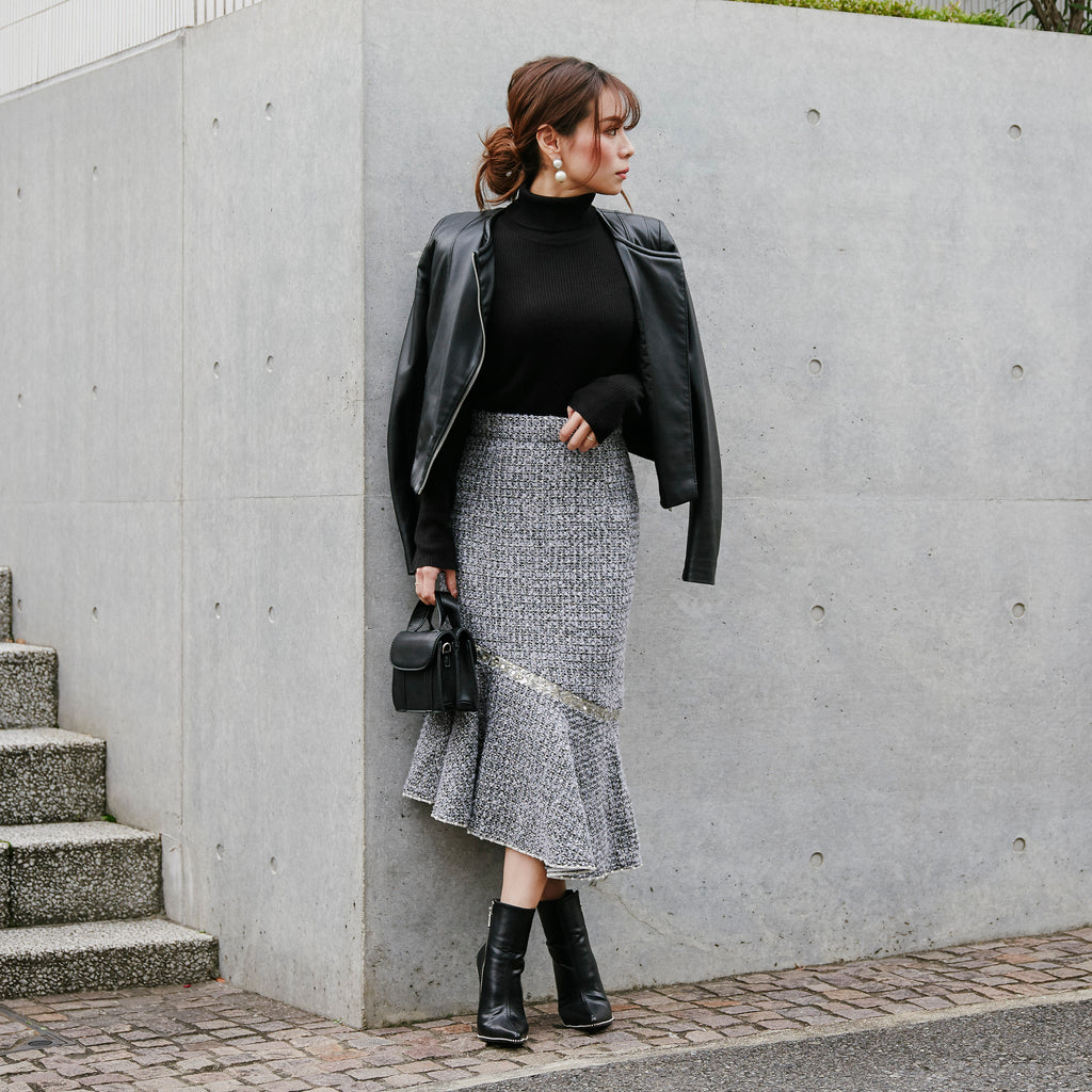 JM014 tweed mermaid skirt - Just me(ジャスト・ミー)