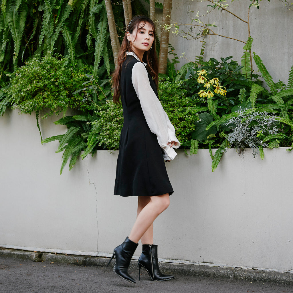 JM017 stitch tie puff sleeve one-piece - Just me(ジャスト・ミー)