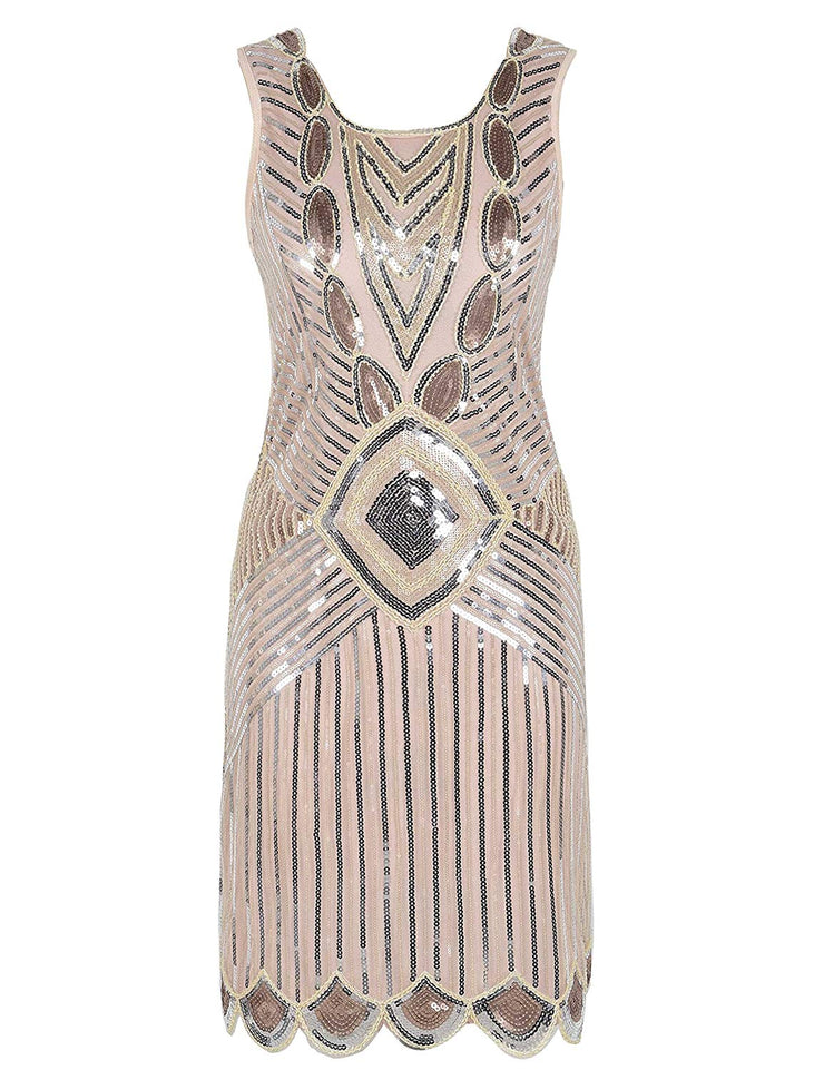 PrettyGuide Women's 1920s Gatsby Sequin Art Deco Scalloped Hem Inspired Flapper Dress