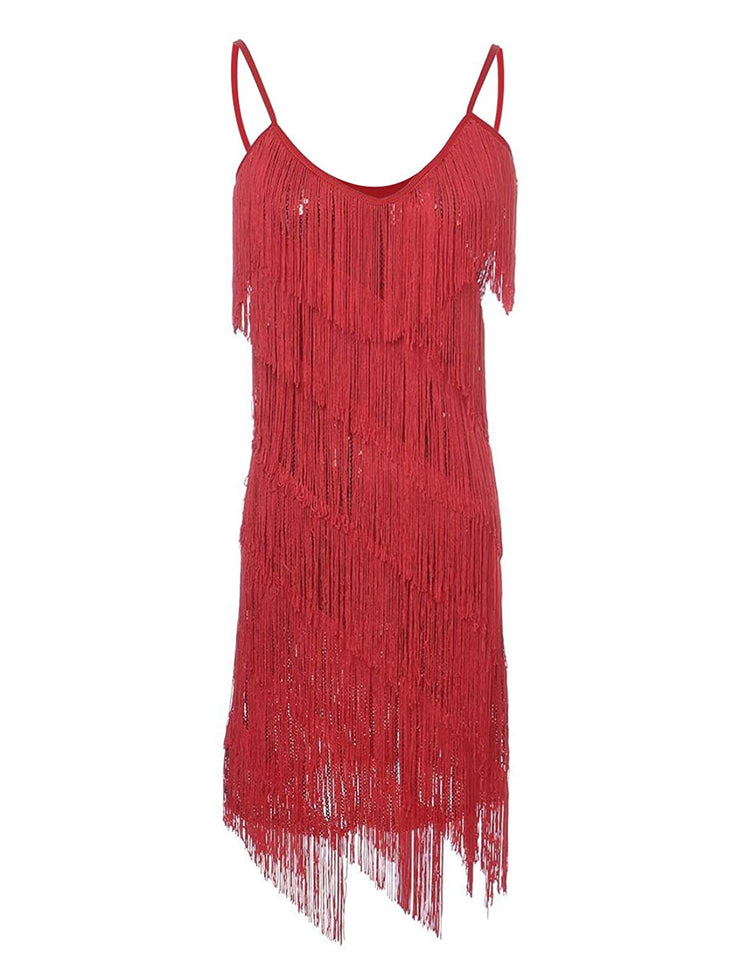 PrettyGuide Women Sequin Fringe 1920s Flapper Inspired Party Latin Dress