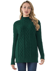 PrettyGuide Women's Tunic Sweater Cable Knit Mock Neck Pullover Long Sweater Tops