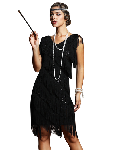 PrettyGuide Women's Flapper Dress Sequined Fringe 1920s Gatsby Party Cocktail Dresses