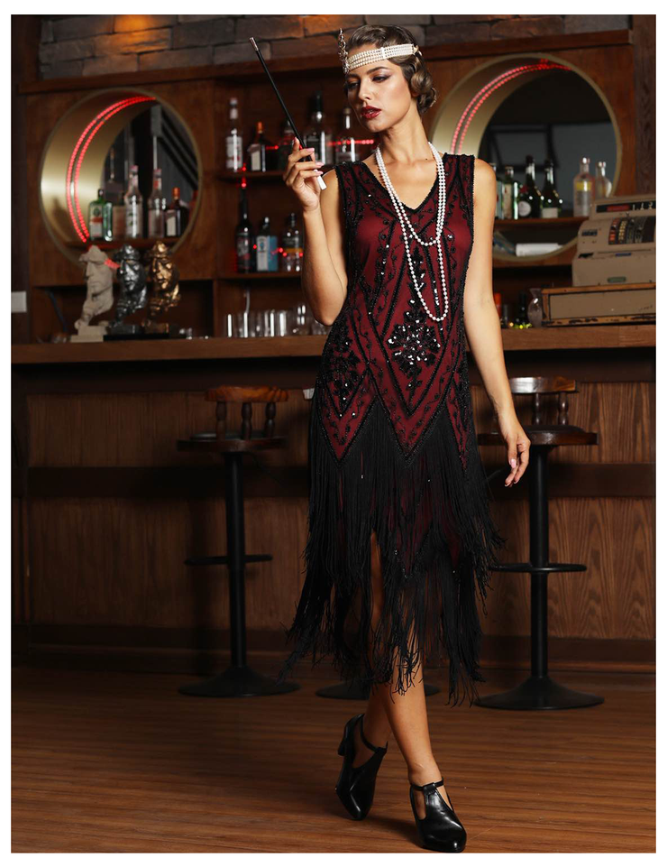 PrettyGuide Women's 1920s Flapper Dress Vintage Swing Fringed Gatsby Roaring 20s Dress