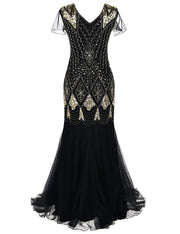 PrettyGuide Women Evening Dress 1920s Flapper Cocktail Mermaid Plus Size Formal Gown