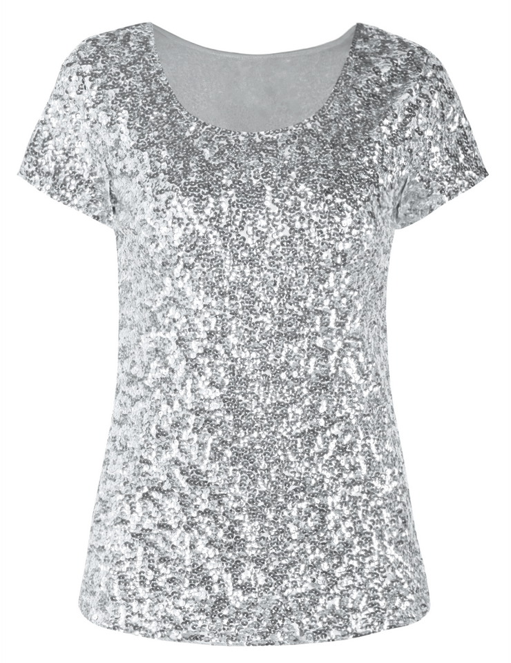 PrettyGuide Women's Sequin Tops All Sparkly Short Sleeve Cocktail Formal Evening Party Blouse Shirt