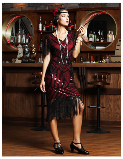 PrettyGuide Women's 1920s Flapper Dress Short Sleeve Glitter Sequin Inspired Fringed Party Cocktail Dresses