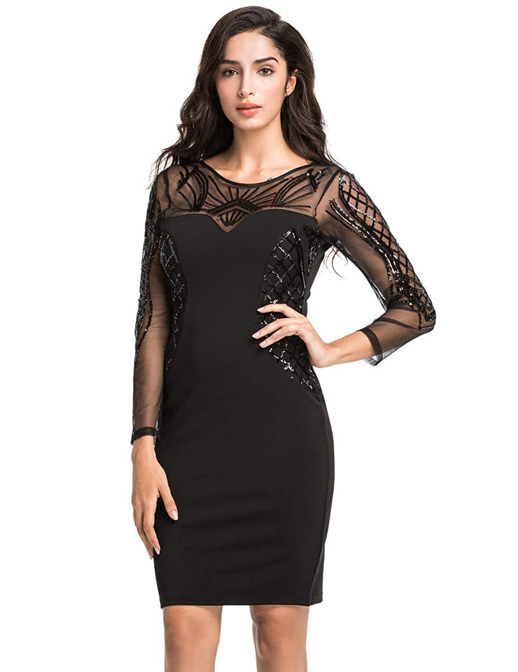 PrettyGuide Women Cocktail Dress Sequin Deco Long Sleeve Sheath Pencil Formal Dress
