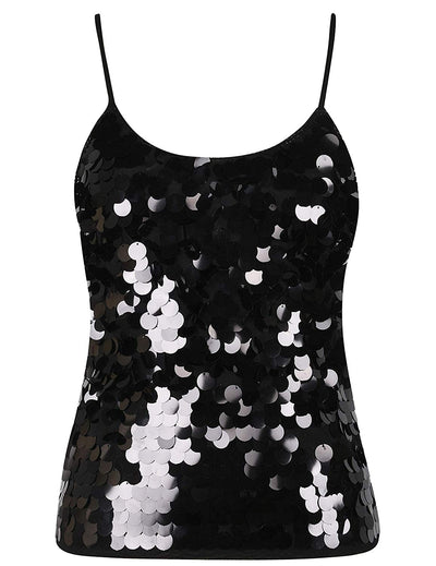 PrettyGuide Women's Sequin Tank Top Spaghetti Strap Camisole Sparkle Club Vest Top