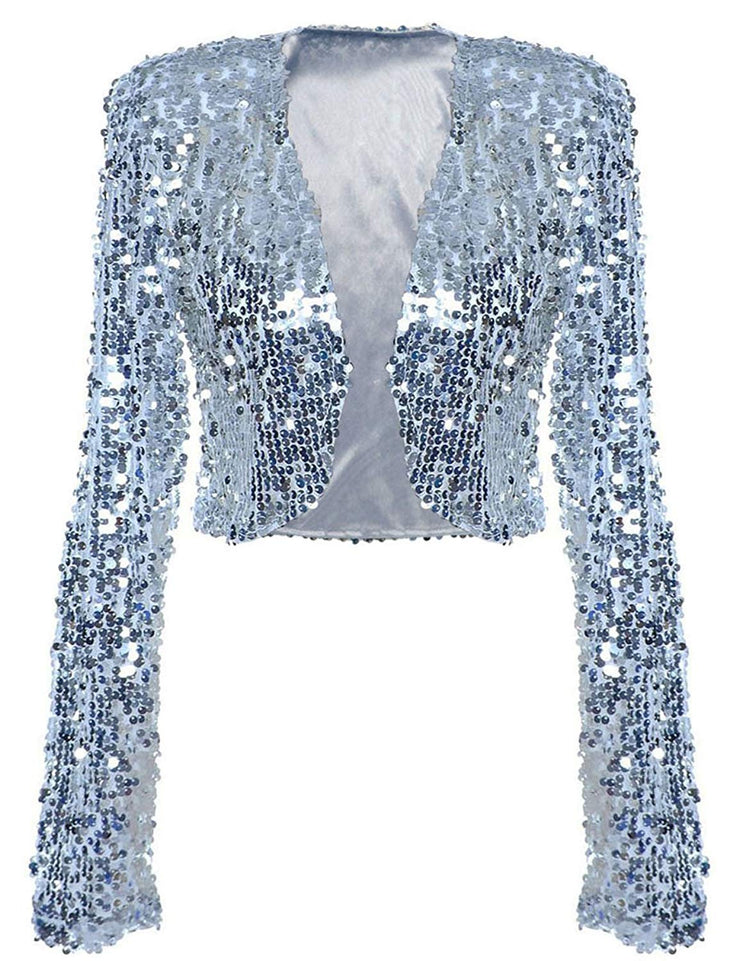 PrettyGuide Women Sequin Jacket Long Sleeve Sparkly Cropped Shrug Clubwear