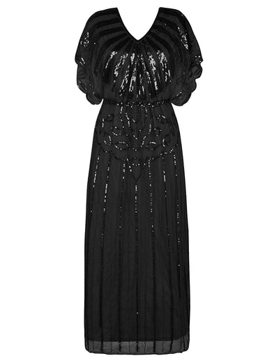 PrettyGuide Women's 1920s Flapper Dress Sequin Beaded Deco Angle Sleeve Maxi Formal Evening Dress