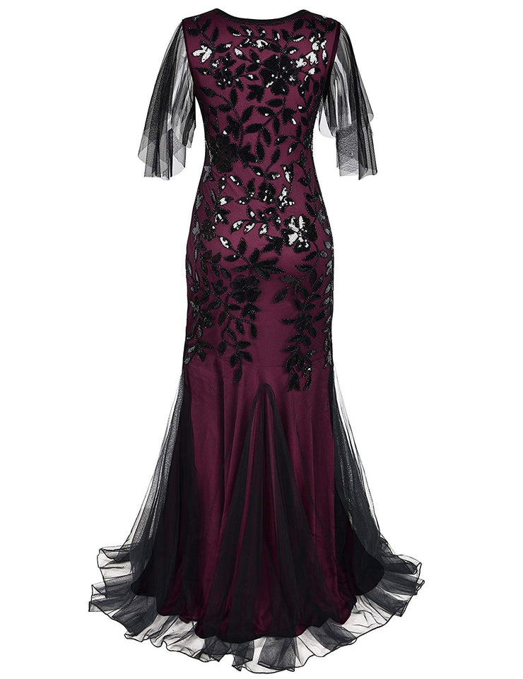 PrettyGuide Women's Evening Dress 1920s Sequin Mermaid Hem Maxi Long Formal Ball Gown