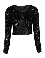 PrettyGuide Women Sequin Bolero Long Sleeve Sparkly Wedding Shrug Cardigan