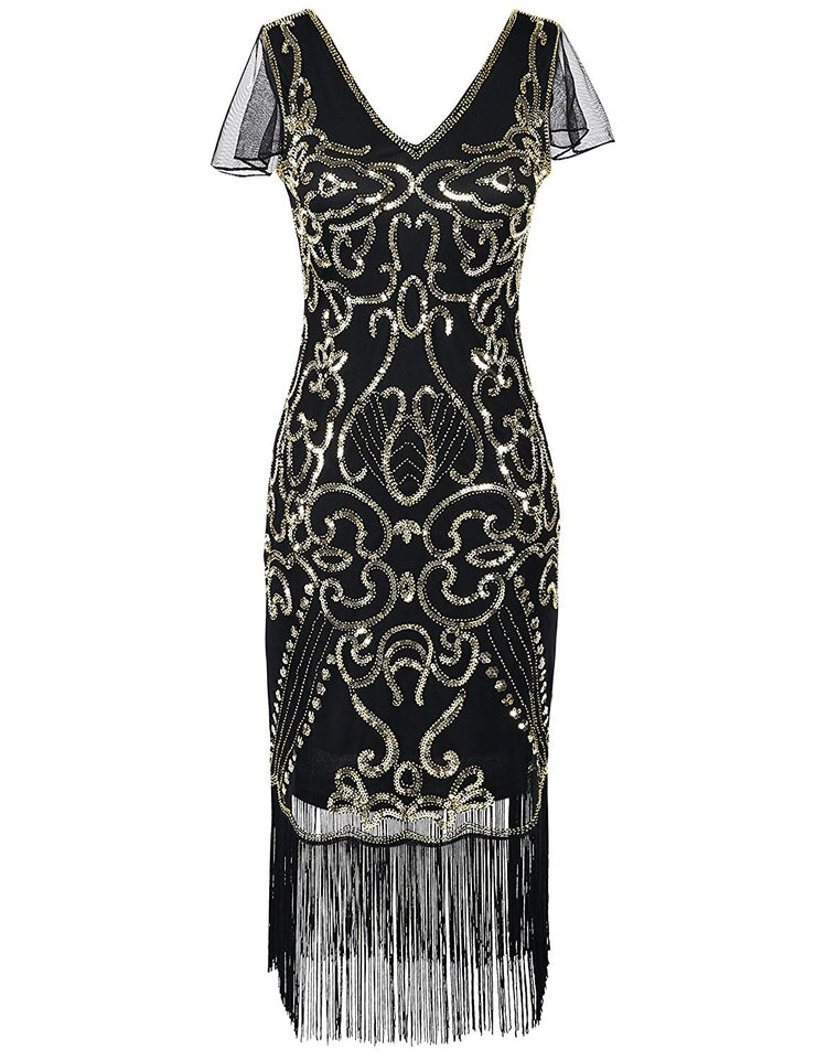 PrettyGuide Women's 1920s Flapper Dress Sequin Cocktail Great Gatsby Dress