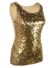 PrettyGuide Women's Sequin Top Slim Stretchy Sparkle Tank Top Party Top