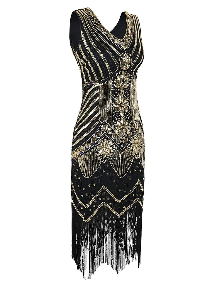 PrettyGuide Women 1920s Dress V Neck Beaded Sequin Deco Gatsby Inspired Flapper Dress