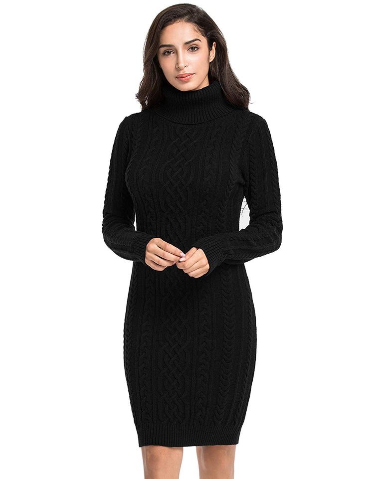 PrettyGuide Women's Sweater Dress Cable Knit Slim Fit Turtleneck Sweater
