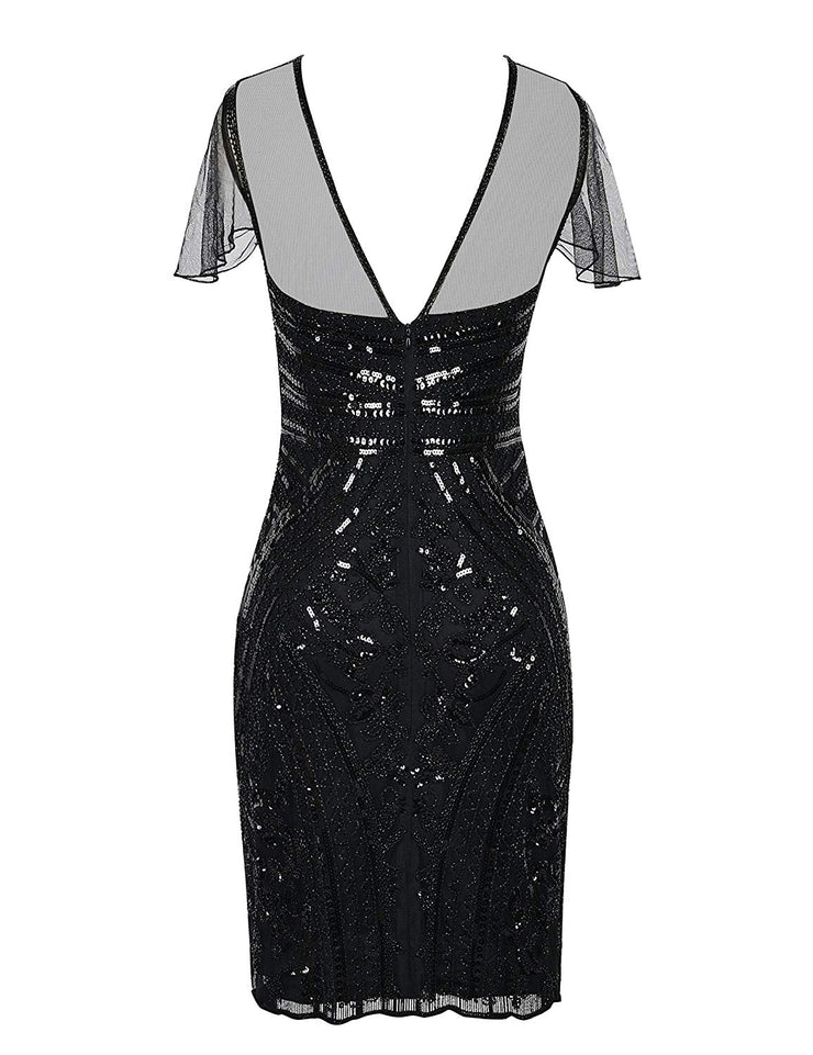 PrettyGuide Women's Flapper Dress Sequin Embellished 1920s Cocktail Gatsby Dress