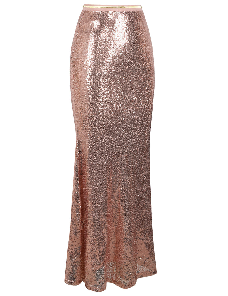 PrettyGuide Women's Sequin Maxi Skirt Glitter Bodycon Long Mermaid Skirt Formal Skirts