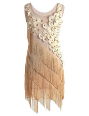 PrettyGuide Women's 1920s Beaded Fringe Scalloped Petal Plus Size Flapper Dress